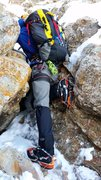 Rock Climbing Photo: Jeff Boney on the mixed section of the lower pitch...
