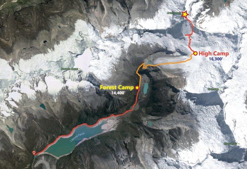 Map of the east ridge route on Artesonraju.