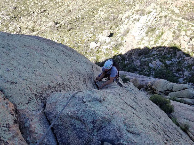 Rock Climbing Photo: Chris following on the 2nd pitch.