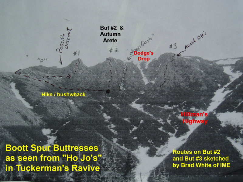 "Brad White photo from Tuckerman's Ravine ""Ho Jo's"" (building at base of ravine)"