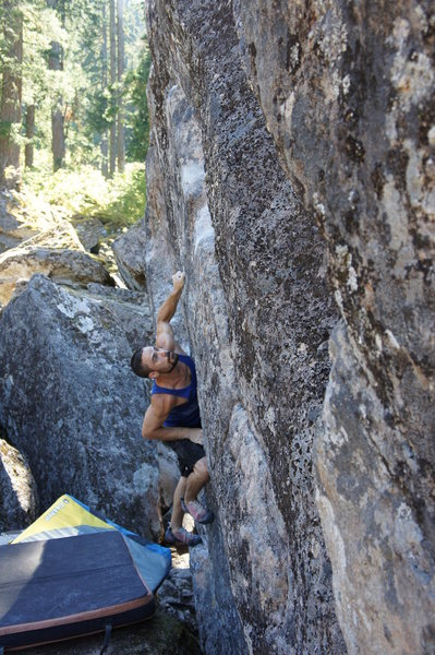 Rock Climbing Photo: Jess Elizares about to do the big move to the good...