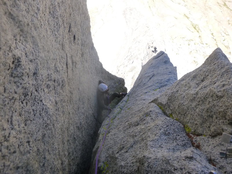 Up the P3 chimney. One of the 3 or so crux sections.