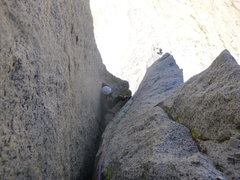 Rock Climbing Photo: Up the P3 chimney. One of the 3 or so crux section...