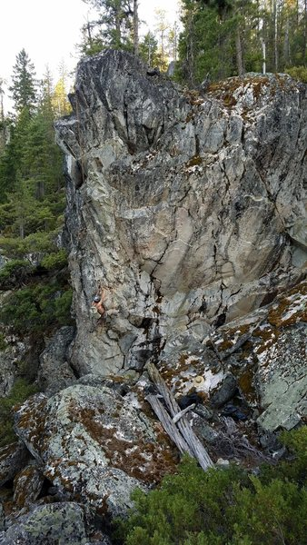 Rock Climbing Photo: Evan Wisheropp tidying things up for the first asc...