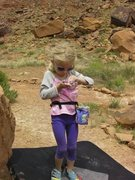 "Rock Climbing Photo: Chalking up with ""Frozen"" chalk bag."