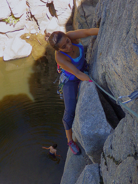 Hannah coming up Overhang Crack.  Aug 2016.