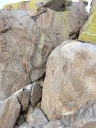 Rock Climbing Photo: Start of Pitch 3. The route goes up the crack syst...