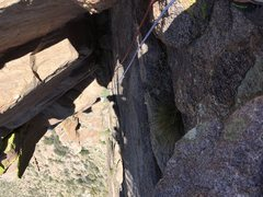 Rock Climbing Photo: Looking down at the route from the top. Photo Marc...