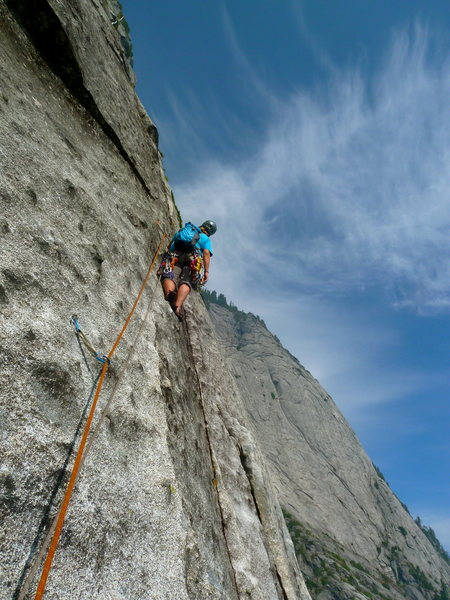 Rock Climbing Photo: Stepping out into knobby deliciousness on Pitch 5.