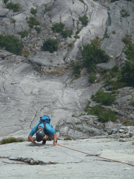 Delicious knobby climbing on Pitch 4.