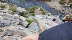 Rock Climbing Photo: My partner following my lead on first pitch 100 ft