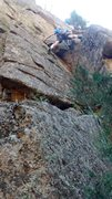 Rock Climbing Photo: At top of the dihedral, below Red Eye crux crack.