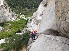 Rock Climbing Photo: Chuba following pitch 1.