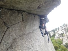 Rock Climbing Photo: Chuba leading pitch 2.