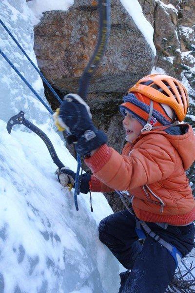 Rock Climbing Photo: Backyard ice, just a few feet from our property li...