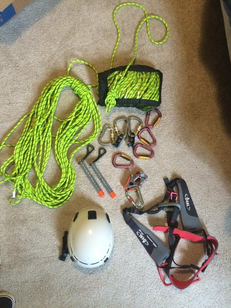 Selling my climbing gear. Bought it for a job in Alaska and never really used any of it. It's all in unused-new condition. I am willing to sell the pieces individually. Please text me if you are interested. Thanks.<br> <br> Includes:<br> Two 32m lengths of 8mm static Bluewater Rope, One L/XL Beal Mirage Recco Harness, One Edelweiss Vertige Helmet(one size fits all), Four Grivel Mega HMS Twin Gate Locking Carabiners, Four Locking Carabiners, Two Rescue Pulleys, One Belay Device.