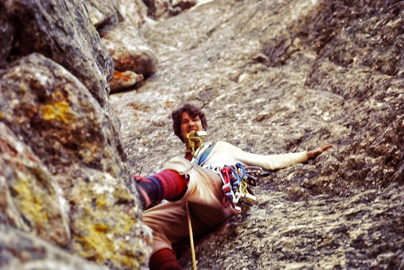 1974 - poor picture.  The first time of more than a dozen times up this great route.  Totally kids, hardest climb up to that point, a rack of nuts, a couple of bongs (as in old big pitons) and the old Ortenberger Guide book.  <br> <br> Last time I climbed it was in the late 90&@POUND@39@SEMICOLON@s with my teenage son.  The Snaz has been a big part of my life of climbing.