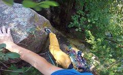 Rock Climbing Photo: Onsight lead of Racecar Ya Ya's (5.7+) on Augu...