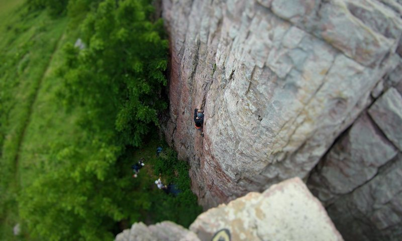 Leading Incapacitation (5.8).  July 2016.  FYI, the original Prairie Walls guidebook gave this route an R.  Just a heads up.