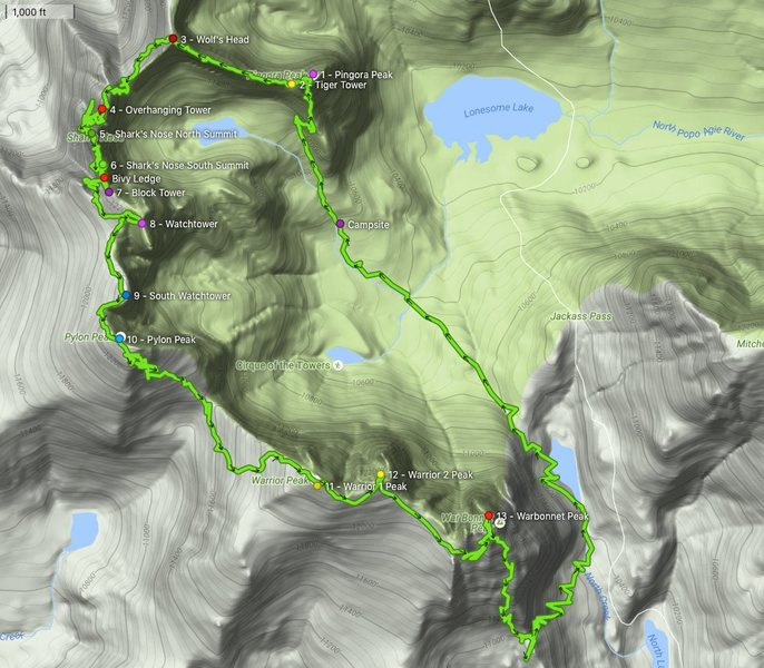 Here is our GPS tracks of the Traverse and all 13 summits.  30 Pitches, ~17 raps, & about 22 miles.