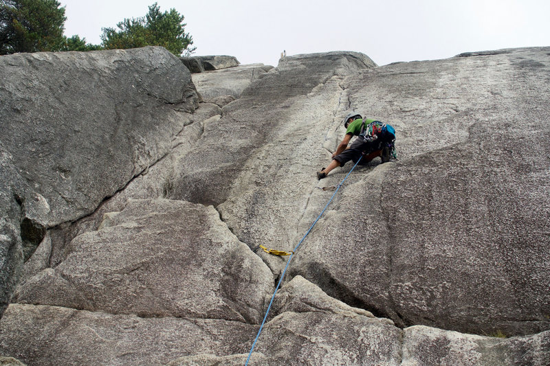 Rock Climbing Photo: Lie backing the initial fingers section.
