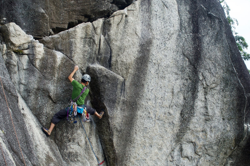 Stemming the initial overhang. Photo by JH.