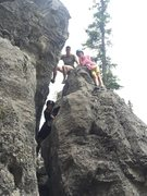 Rock Climbing Photo: Hanging out in a huge crack at Boulder Gardens wit...