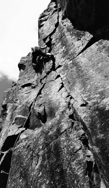 Onsight lead of The Flake (5.8) on May 7, 2016.