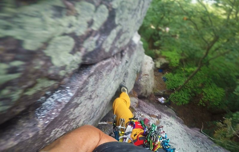 Onsight lead of Jacob's Ladder (5.6) on July 30, 2016.