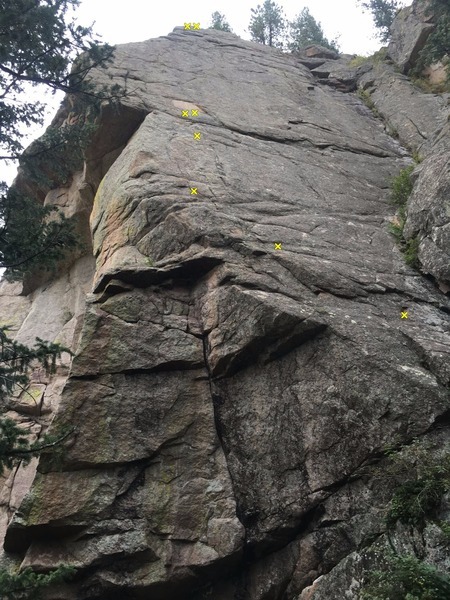 Rock Climbing Photo: This picture is highlighting ONLY the first 4 bolt...