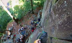 Rock Climbing Photo: Clipping pro after the crux on Air Conditioned (5....