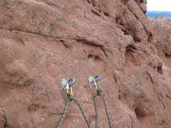 Rock Climbing Photo: Monster anchors at the top of the third pitch. It&...