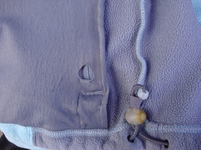 Hole in pocket lining, same spot both pockets.