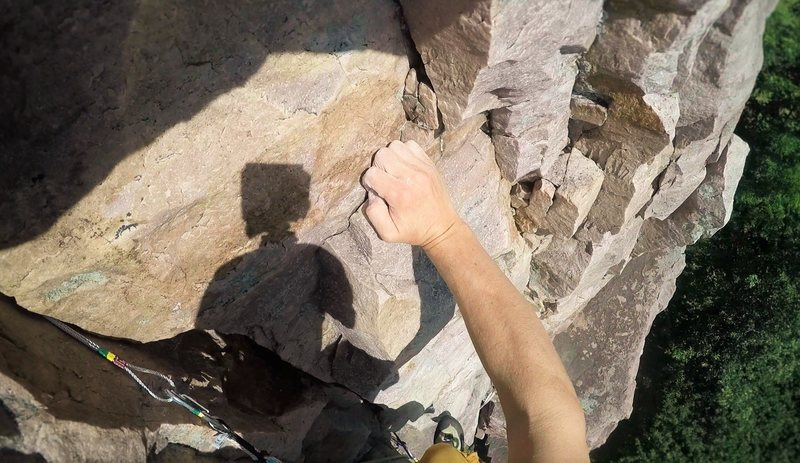 Onsight lead of Old Stump (5.7) on July 17, 2016.