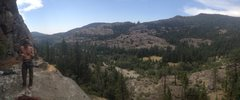 Rock Climbing Photo: pano of the big ledge at the base of negativity. w...
