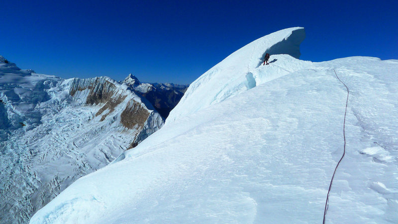 Rock Climbing Photo: About to jump the crevasse guarding the summit in ...