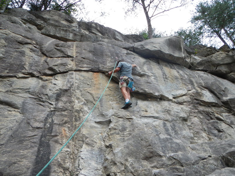 Rock Climbing Photo: What is now the second bolt. Good shot of the righ...
