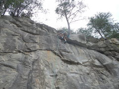 Rock Climbing Photo: The last bolt. The climbing after this is easy. Ju...