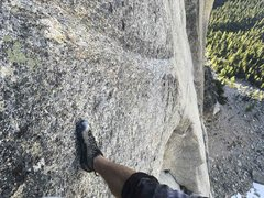 Rock Climbing Photo: Looking down at pitch 8,  the holdless 5.13- crimp...