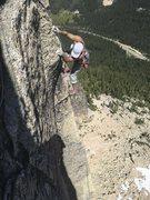 Rock Climbing Photo: Finishing arete move of pitch 5.