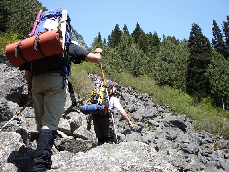 You will scramble up lots of boulder fields in the hot sun.