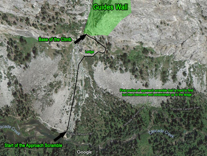 Map of the approach to Guides Wall