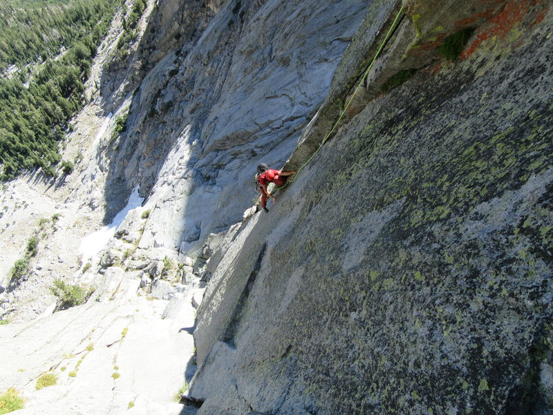 Ken Kreis following P4 of The Edge of Time Arete 5.10+.
