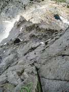 Rock Climbing Photo: Looking down the long and sustained P6 of Picture ...