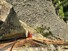 Rock Climbing Photo: Looking down from the top of the final pitch on Yo...