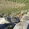 Ken following multi-pitch led by Neil,<br> in upper part of sector Grepon at Rush climbing area