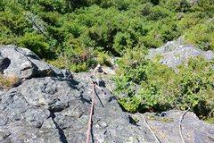Rock Climbing Photo: Justin following on pitch 1
