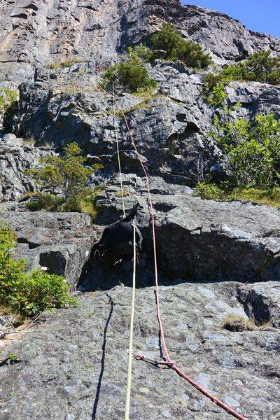 Rock Climbing Photo: Hauling bags on pitch 2