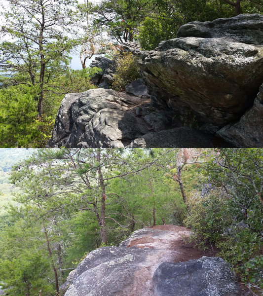 Approach trail pictures, both taken looking North, standing South of the observation deck. Top photo shows the boulder which appears to be the highest point, the trail is to the left of the boulder. Bottom photo shows the trail descending past the tall boulder.