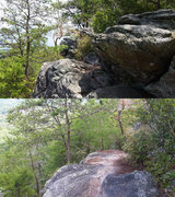 Rock Climbing Photo: Approach trail pictures, both taken looking North,...